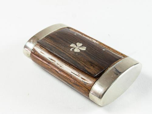 French Rosewood Snuff Box with Four Leaf Clover Insert (1 of 3)