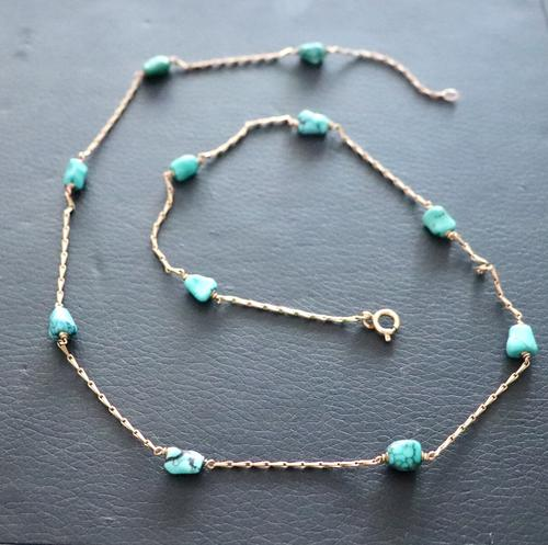 Gold & Turquoise Necklace (1 of 7)