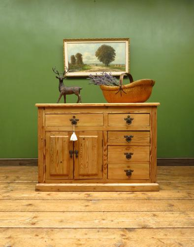 Unusual Antique Victorian Rustic Pine Sideboard Kitchen Island (1 of 17)