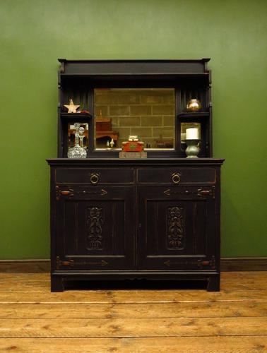 Art Nouveau Black Painted Sideboard Chiffonier Dresser with Mirrored Top, Gothic (1 of 19)
