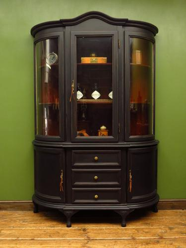 Painted Black Bow Fronted Glazed Display Cabinet Dresser (1 of 16)