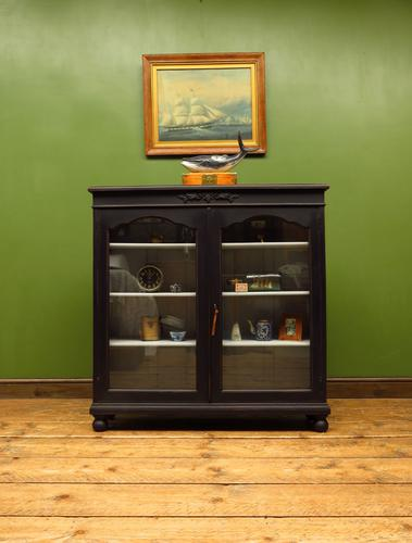 Painted Black Display Cabinet Bookcase, Adjustable Shelves, Lockable, Gothic (1 of 16)