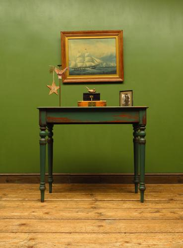 Antique Painted Green Console Table, Bohemian Shabby Chic (1 of 9)