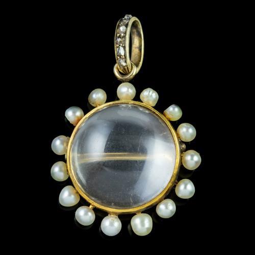 Antique Victorian Stuart Crystal Pearl Diamond Locket Brooch c.1880 (1 of 6)