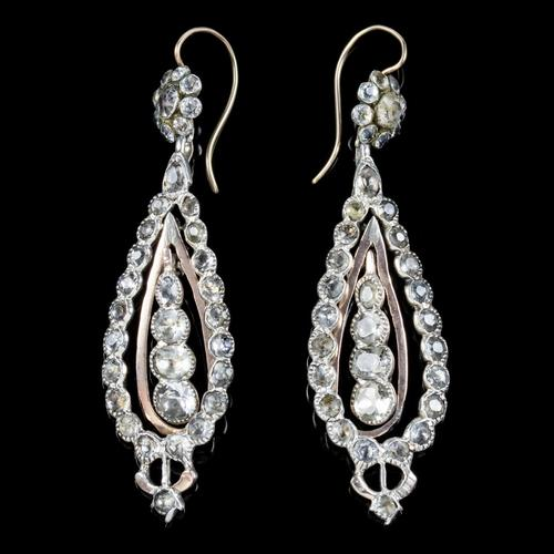 Antique Georgian Portuguese Crystal Drop Earrings Silver 18ct Gold c.1820 (1 of 6)