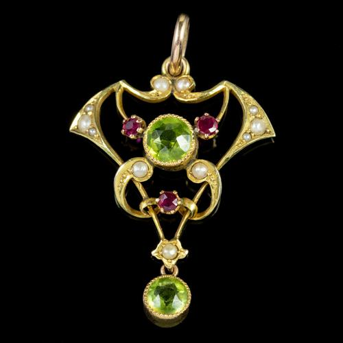 Antique Edwardian 9ct Gold Ruby Peridot Pearl Pendant c.1910 (1 of 5)