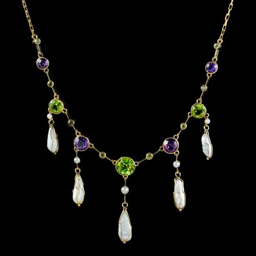 Antique Suffragette Necklace Baroque Pearls Amethyst Peridot 15ct Gold c.1910 (1 of 5)