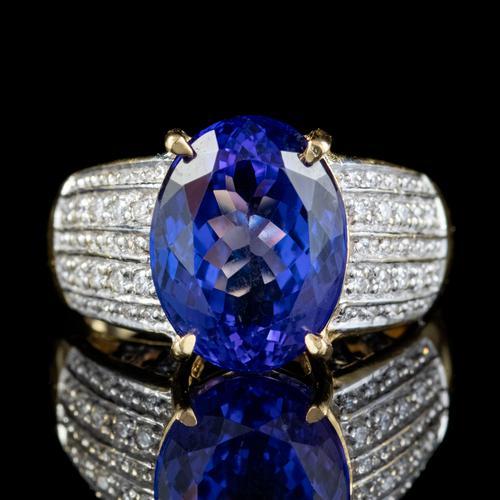 Vintage Tanzanite Diamond Ring 7.50ct Tanzanite 18ct Gold (1 of 6)