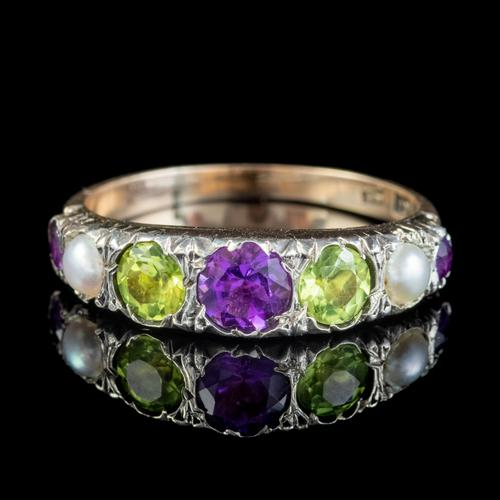 Antique Suffragette Amethyst Peridot Pearl Ring 9ct Gold c.1910 (1 of 6)