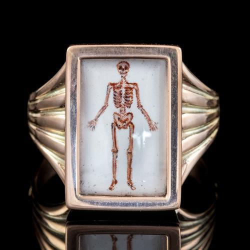 Memento Mori Enamel Skeleton Ring Antique Mount 9ct Gold (1 of 6)