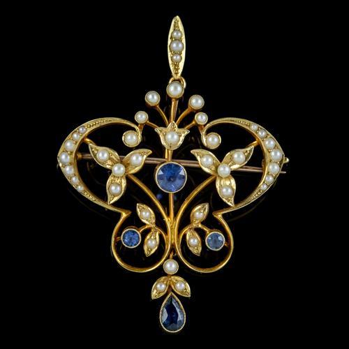 Antique Victorian Art Nouveau Sapphire Pearl Pendant Brooch 15ct Gold c.1900 (1 of 5)