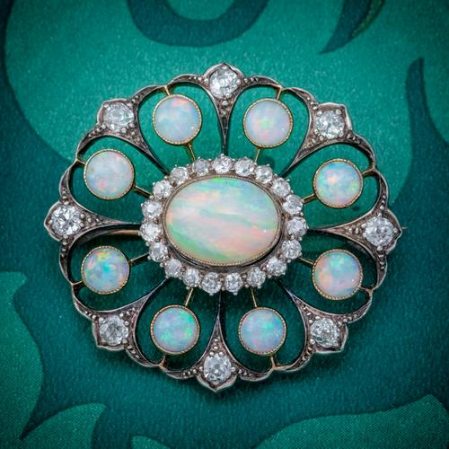 Antique Victorian Opal Diamond Brooch Natural 5.1ct Opals c.1890 (1 of 6)