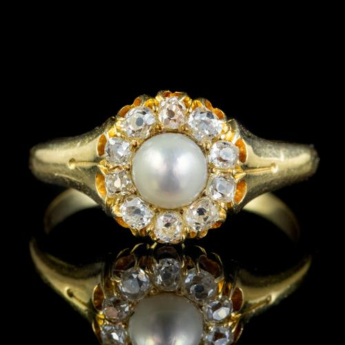 Antique Victorian Pearl Diamond Cluster Ring 18ct Gold c.1890 (1 of 5)