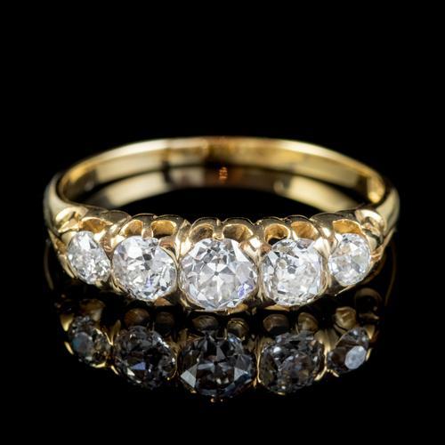 Antique Victorian Diamond Five Stone Ring 1ct Old Cut Diamonds 15ct Gold c.1890 (1 of 6)