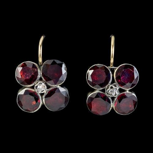 Georgian Flat Cut Garnet Diamond Earrings Silver Gold (1 of 5)