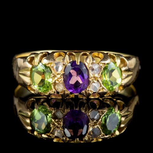 Antique Suffragette Ring Amethyst Peridot Diamond 15ct Gold c.1910 (1 of 5)
