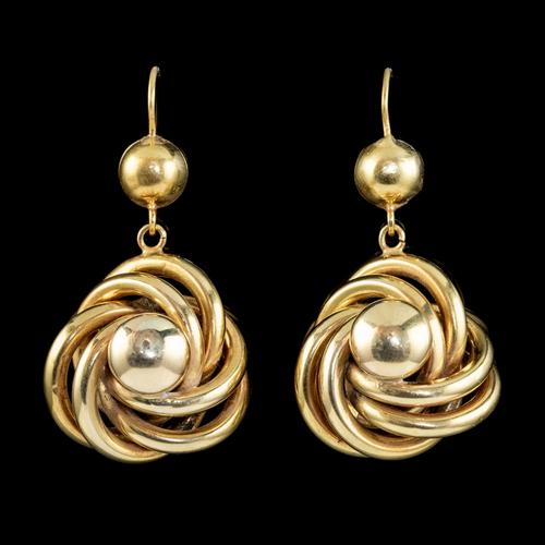 Antique Victorian Lovers Knot Drop Earrings 18ct Gold c.1890 (1 of 5)
