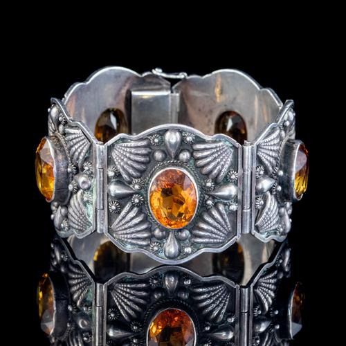 Victorian Celtic Citrine Cuff Bracelet Silver 50ct Citrines c.1870 (1 of 6)