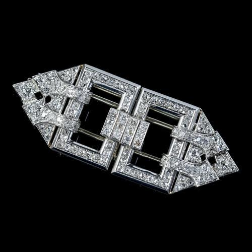 Art Deco French Diamond Double Clip Brooch 18ct Gold 3ct Diamonds Boxed c.1930 (1 of 9)