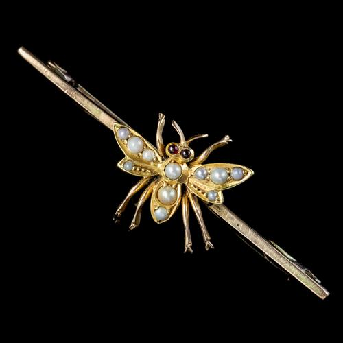 Antique Victorian Pearl Insect Bar Brooch Ruby Eyes 15ct Gold c.1880 (1 of 5)