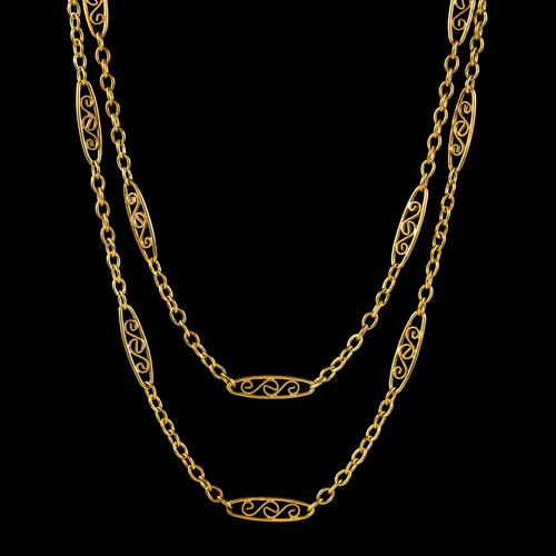 Antique French Sautoir Chain Silver 18ct Gold Gilt c.1900 (1 of 5)