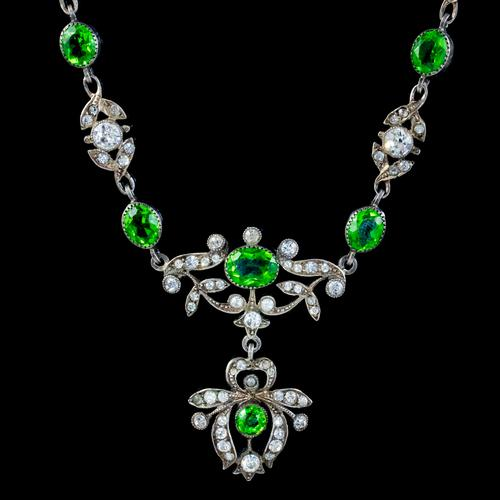 Antique Edwardian Green Paste Lavaliere Necklace Sterling Silver c.1905 (1 of 8)
