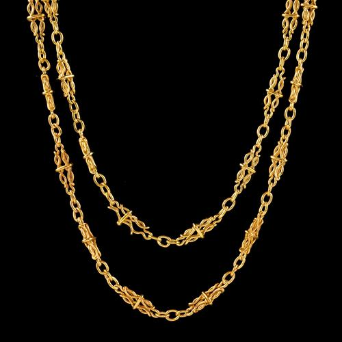 Antique French Long Sautoir Chain Silver 18ct Gold Gilt c.1900 (1 of 5)