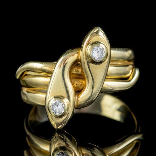 Antique Edwardian Diamond Snake Ring 18ct Gold c.1905 (1 of 5)