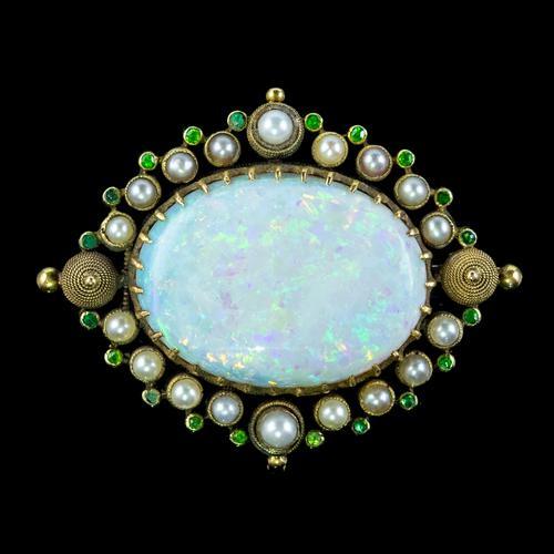 Antique Victorian Natural Opal Green Garnet Pearl Brooch 15ct Gold 25ct Opal c.1890 (1 of 5)