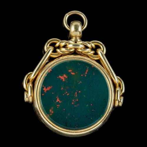 Antique Victorian Fob Pendant Jasper Carnelian 18ct Gold c.1880 (1 of 6)