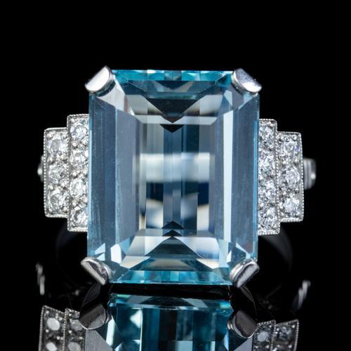 Art Deco Aquamarine Diamond Ring Platinum 13.17ct Emerald Cut Aqua c.1920 (1 of 6)