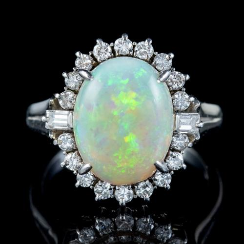 Vintage Opal Diamond Ring Platinum 6ct Natural Opal c.1960 (1 of 7)