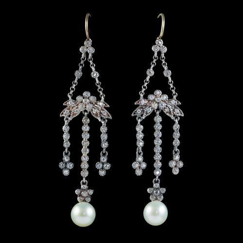 Antique Pearl Paste Chandelier Earrings Silver c.1915 (1 of 4)