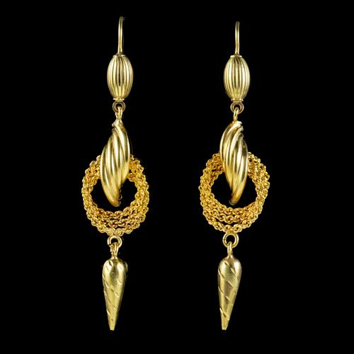 Antique Victorian 18ct Gold Drop Earrings c.1890 (1 of 5)