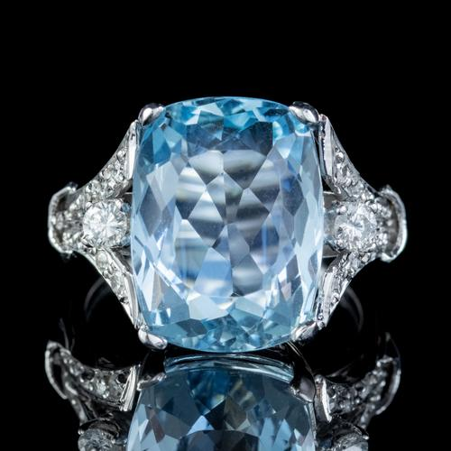 Vintage Aquamarine Diamond Ring Platinum 8ct Briolette Cut Aqua (1 of 7)