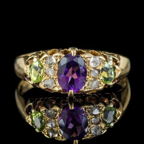 Antique Edwardian Suffragette Ring 18ct Gold Amethyst Diamond Peridot Dated 1903 (1 of 6)
