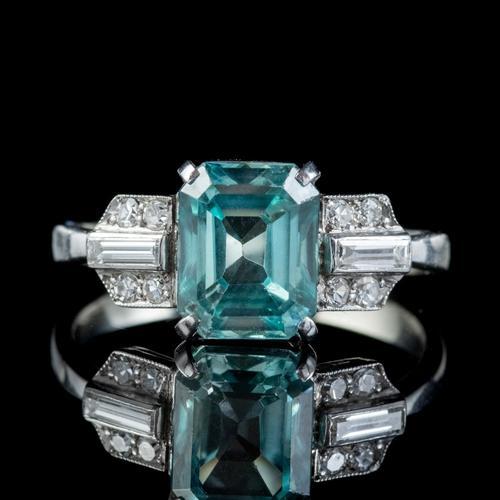Art Deco Blue Zircon Diamond Ring Platinum 2.80ct Emerald Cut Zircon c.1920 (1 of 5)