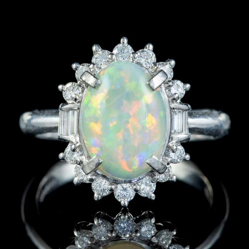 Vintage Opal Diamond Cluster Ring Platinum 1.91ct Natural Opal c.1960 (1 of 6)