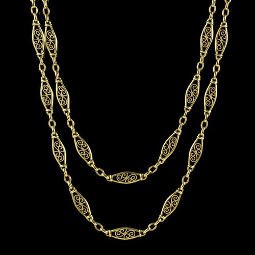 Antique French Long Guard Chain 18ct Yellow Gold c.1910 (1 of 5)