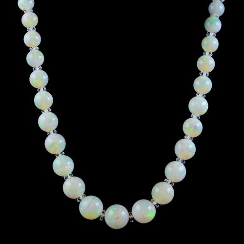 Vintage Natural Opal Crystal Beaded Necklace 18ct Gold Clasp (1 of 8)