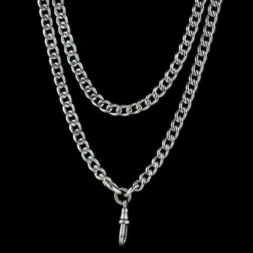 Antique Victorian Long Curb Guard Chain Sterling Silver circa 1900 (1 of 6)