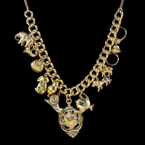 Vintage Gold Charm Necklace 9ct Gold 12 Charms & Medallion Dated 1920 (1 of 11)