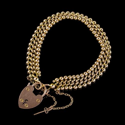 Antique Edwardian Padlock and Key Bracelet 9ct Gold Lewis Brothers Dated 1903 (1 of 6)