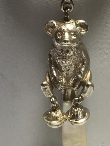 Very Fine Solid Silver Bear Rattle (1 of 8)