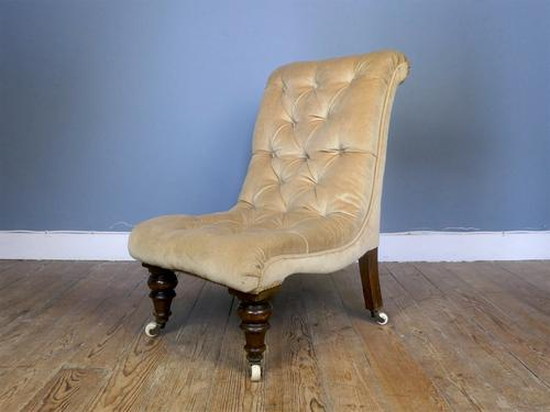 Early 19th Century Buttoned Slipper Chair (1 of 4)