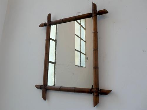 Vintage French Faux Bamboo Wall Mirror (1 of 6)