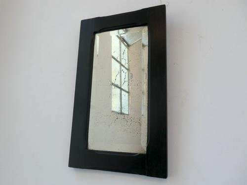 Tall Ebonised Wall Mirror with Distressed Bevelled Plate (1 of 5)