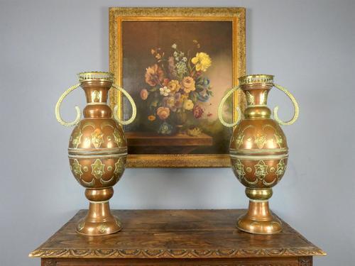 Large Antique Moorish Copper Vases (1 of 4)