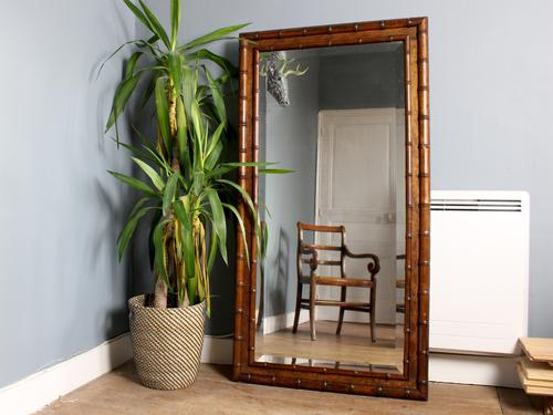 Large Faux Bamboo Floor or Wall Mirror (1 of 5)