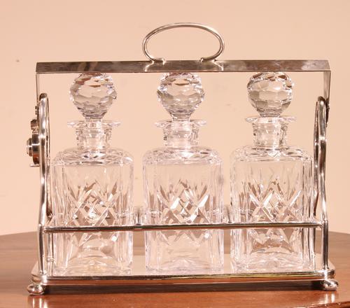 Liquor Cellar / Tantalus in Silver Metal Three Crystal Bottles (1 of 10)